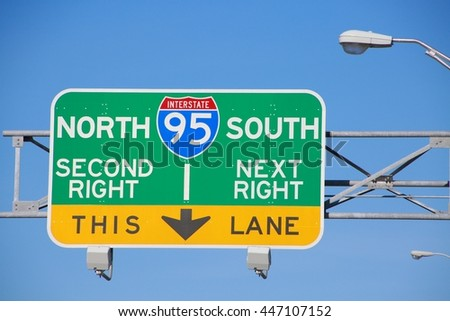 I-95 North South Second Right Next Right This Lane Sign