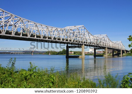 I-65 Roadway Bridge over the Ohio River connecting Louisville, Kentucky to Jeffersonville, Indiana - stock photo