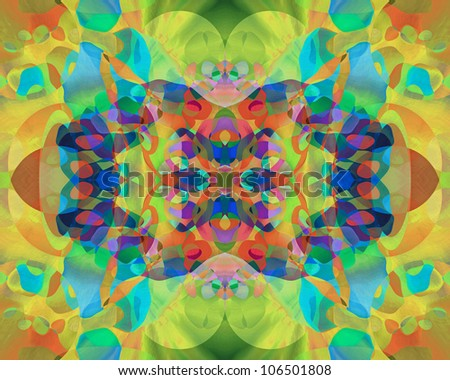 "I title this series of abstract, multi-hued, kaleidoscopic images in varying color schemes ""Butterfly Blossoms."""