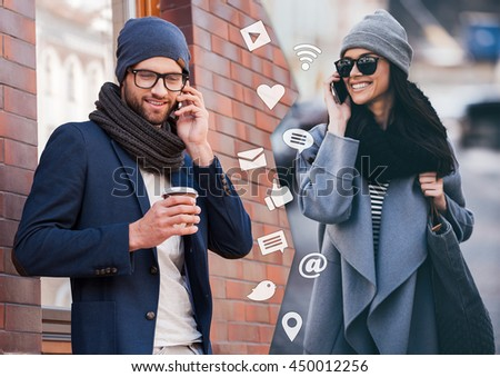 I will be in five minutes! Montage of two images of men and woman talking on their smart phones and smiling while standing in different places outdoors - stock photo