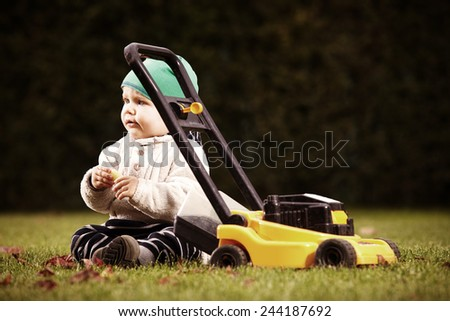 I will be lawn-mower - stock photo