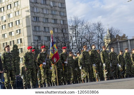 IASI, ROMANIA-DEC. 1: Military Parade on National Day of Romania, Union Square, December 1, 2012 in Iasi - stock photo
