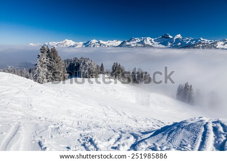 IBERGEREGG, SCHWYZ, SWITZERLAND - FEBRUARY 7: Viem from the hilltop of Mountain Ibergeregg on February 7, 2015. Ibergeregg is a high mountain pass and ski resort in the swiss alps.