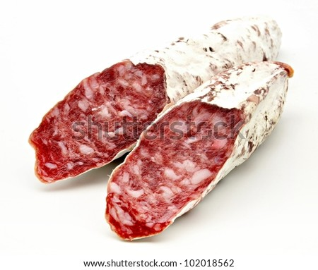 Iberian salami appetizer Typical Spanish - stock photo