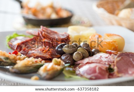 Iberian Tapas, Traditional Appetizer, ready to eat.
