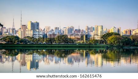 Ibirapuera Park Skyline - Sao Paulo - Brazil - stock photo