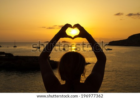 Ibiza Beautiful sunset in Cala Conta, Ibiza,near San Antonio - stock photo
