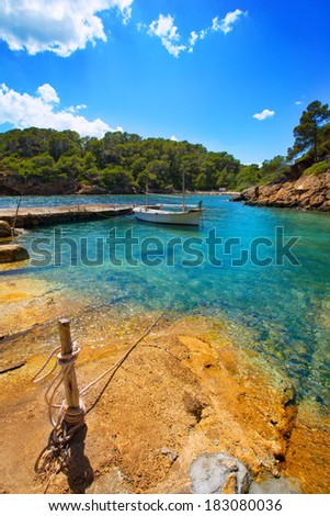 Ibiza Cala Mestella Mastella in Santa Eularia des Riu at Balearic islands - stock photo