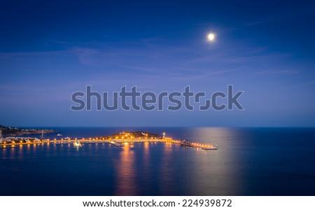 Ibiza harbor at night. Eivissa, Balearic islands, Spain - stock photo