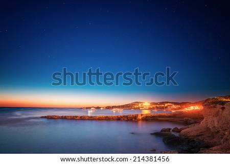 Ibiza island night view in San Antonio  - stock photo
