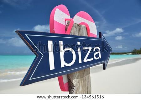 IBIZA sign on the beach - stock photo