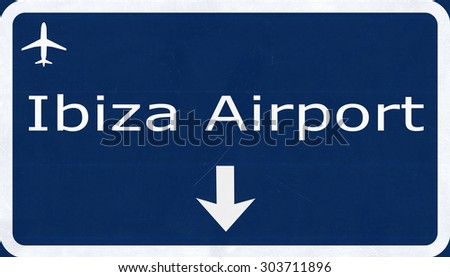 Ibiza Spain Airport Highway Sign 2D Illustration