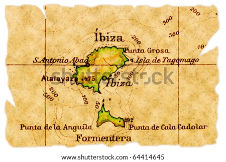 Ibiza, Spain on an old torn map from 1949, isolated. Part of the old map series. - stock photo