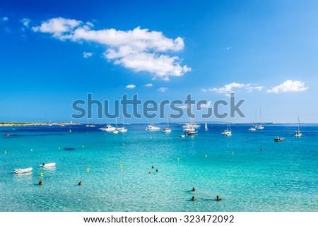 Ibiza, Spain: September 21, 2013: Turquoise bay of Las Salinas. Ibiza, Balearic islands. Spain - stock photo