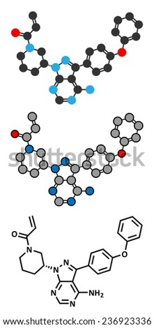 Ibrutinib cancer drug molecule. Used in treatment of mantle cell lymphoma and chronic lymphocytic leukemia (CLL). Conventional skeletal formula and stylized representations. - stock photo