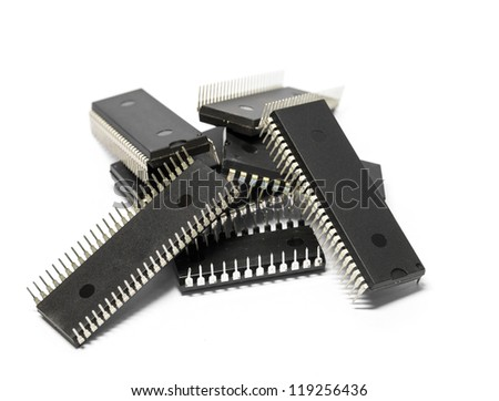 IC - Integrated Circuit in white background - stock photo