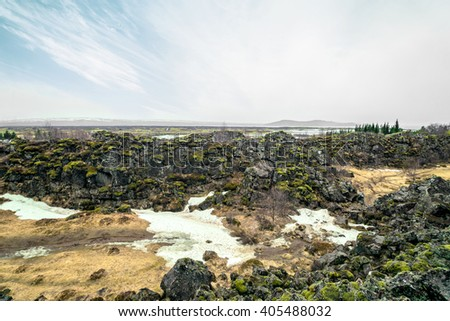 Ice age landscape from Thingvellir national park in Iceland