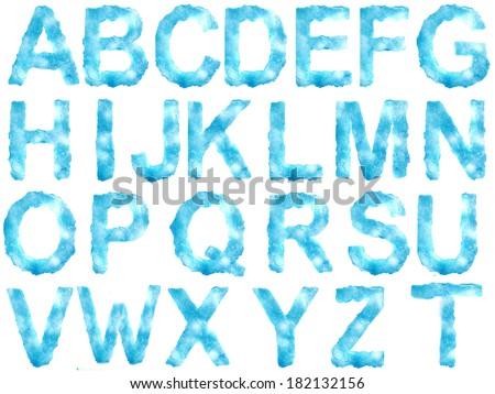 Ice alphabet on white background - stock photo