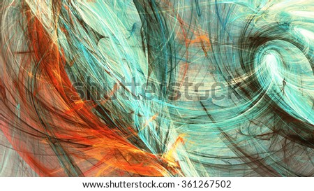 Ice and fire. Abstract bright color motion composition. Modern futuristic dynamic background. Multicolor artistic pattern of paints. Fractal artwork for creative graphic design - stock photo