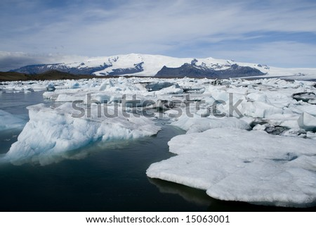 Ice at the glacier lagoon, Iceland - stock photo