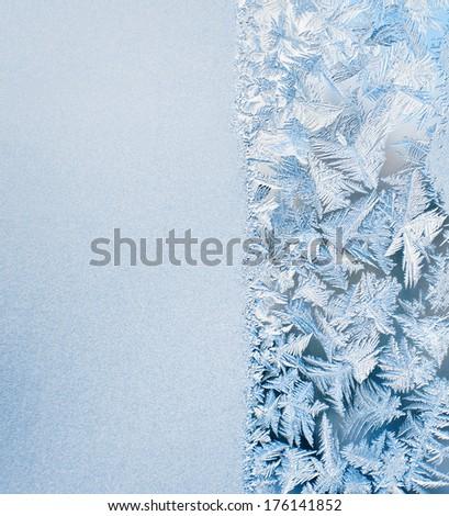 Ice background, frost on window - stock photo