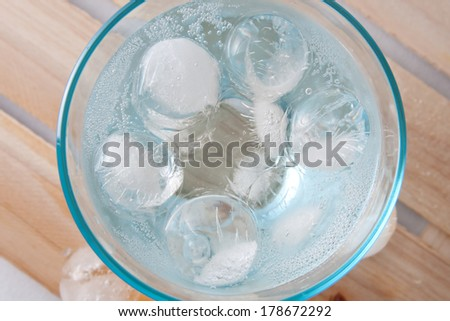 ice balls in the glass full of water