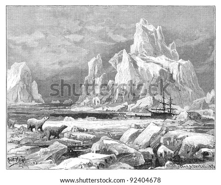 Ice bears - Davis Strait / vintage illustration from Meyers Konversations-Lexikon 1897 - stock photo
