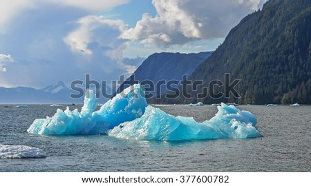 Ice bergs from the Le Conte Glacier at the entrance to LeConte Bay near Frederick Sound in Southeast Alaska - stock photo