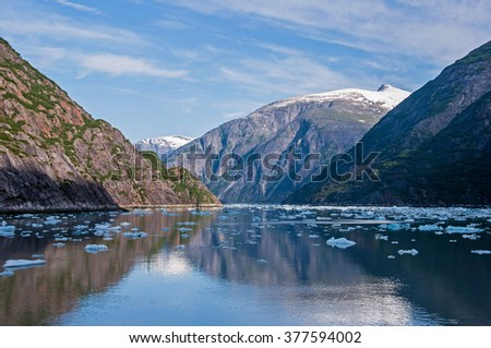 Ice bergs in Tracy Arm Fjord near the Sawyer Glaciers in Southeast Alaska - stock photo