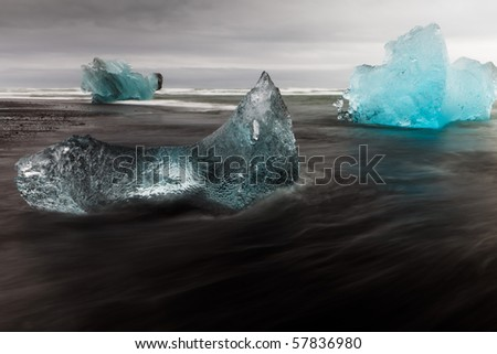 Ice-blocks - Iceland - stock photo