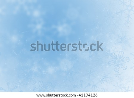 Ice blue winter decoration background with snowflakes ans sparkles - stock photo