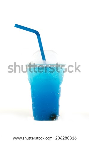 Ice blueberry sodas drinking water - stock photo