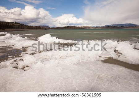 Ice-Break at Lake Laberge, Yukon T., Canada - stock photo