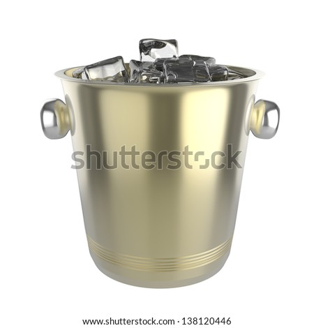 Ice bucket full with ice, isolated on white background