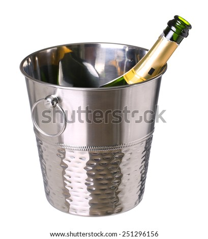 ice bucket with champagne bottle  isolated on white background