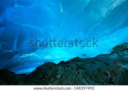 Ice Cave, Mendenhall Glacier, Juneau, Alaska, USA - stock photo