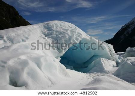 Ice cave on Fox Glacier New Zealand - stock photo