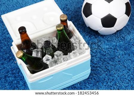 Ice chest full of drinks in bottles on color carpet background - stock photo