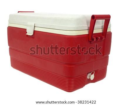 Ice chest isolated on white background - stock photo