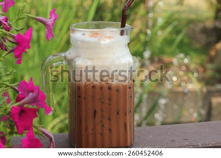 ice chocolate and milk in glass - stock photo