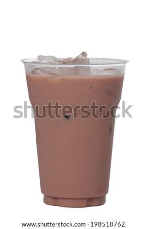 Ice chocolate  isolated on white background.  - stock photo