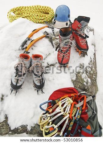 Ice climbing gear - stock photo