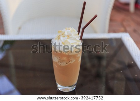 ice coffee cappuccino latte on table - stock photo