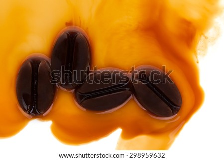 Ice coffee. Frozen coffee in coffee beans form, top view. - stock photo