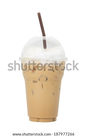 Ice coffee isolated on white background. - stock photo