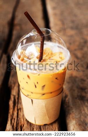 ice coffee on the wood desk - stock photo