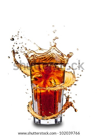 Ice cola drink with splash, isolated on white background - stock photo