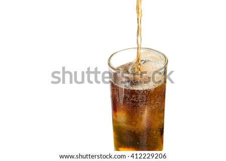 Ice cola in glass isolate on white background ,fizz,thristy - stock photo