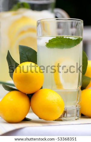 Ice Cold Lemonade With Mint - stock photo