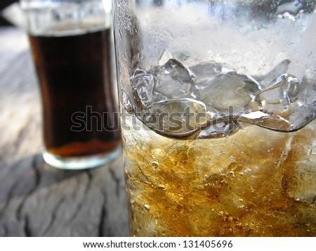 Ice cold refreshing Coca cola glass - stock photo